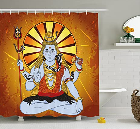 Spiritual Shower Curtain By Ambesonne, Religious Figure On Grunge Backdrop  Idol Meditation Boho Holy Print