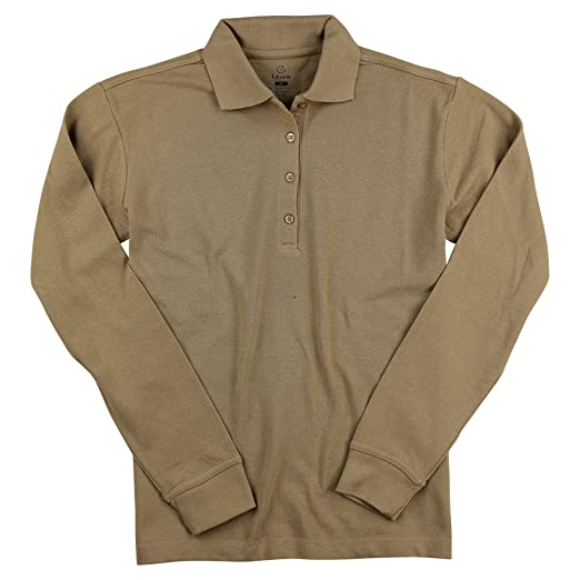 08cf4c95 ... new arrivals edwards womens long sleeve poly cotton pique polo shirt  tan x small 2ae27 e4cf0