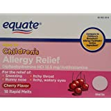 Equate Children's Allergy Relief 18ct (cherry flavour) Compare to Children's Benadryl Allergy FastMelt,1-pack