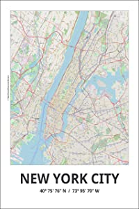 Spitzy's Map of New York City, 12x18 Inches, City Map Poster - Traveler, United States, Modern Wall Decor Art for Living Room, Office, Bedroom