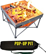 Pop-Up Fire Pit | Portable and Lightweight | Fullsize 24 Inch | Weight 8 lbs. | Never Rust Fire Pit | Included Heat Shield fo