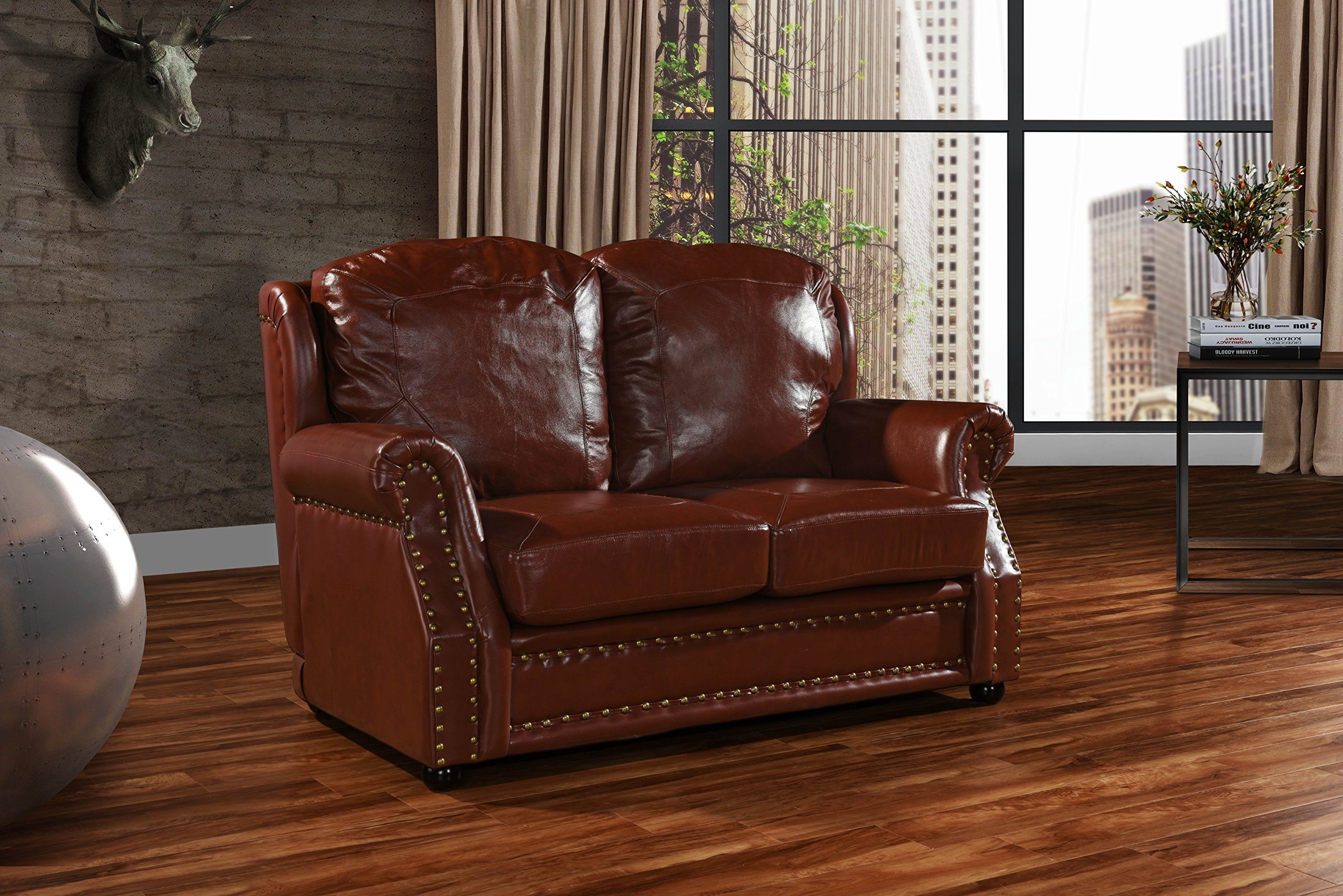 Leather Sofa 2 Seater, Living Room Couch Loveseat with Nailhead Trim (Light Brown) by Divano Roma Furniture