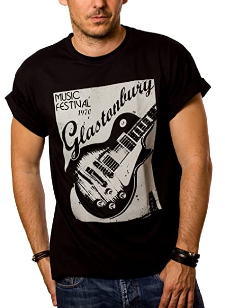 MAKAYA Mens T-Shirt Vintage Music Poster - Glastonbury Guitar Black Size S