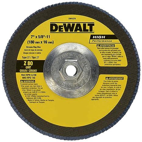 DEWALT DWA8217H 7-Inch by 5//8-Inch-11 60 Grit Zirconia T29 Flap Disc