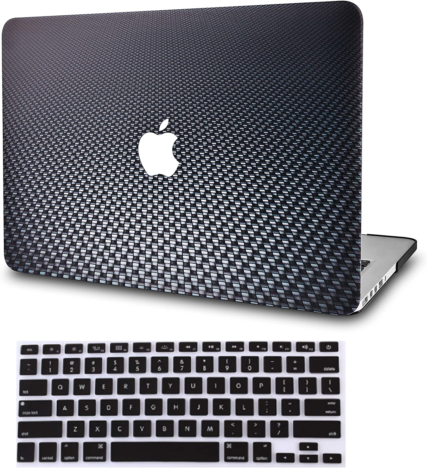 """KECC Laptop Case for MacBook Air 13"""" Retina (2020/2019/2018, Touch ID) w/Keyboard Cover Plastic Hard Shell Case A1932 2 in 1 Bundle (Black Carbon Fiber)"""