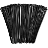 """8"""" Zip Ties (1,000 Pack), 40lb Strength Black Nylon Cable Wire Ties, By Bolt Dropper."""