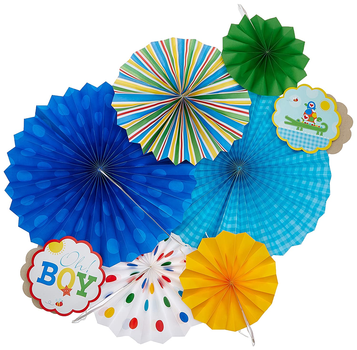 Amazon Baby Shower Ahoy Baby Paper Fan Decorations 6pc