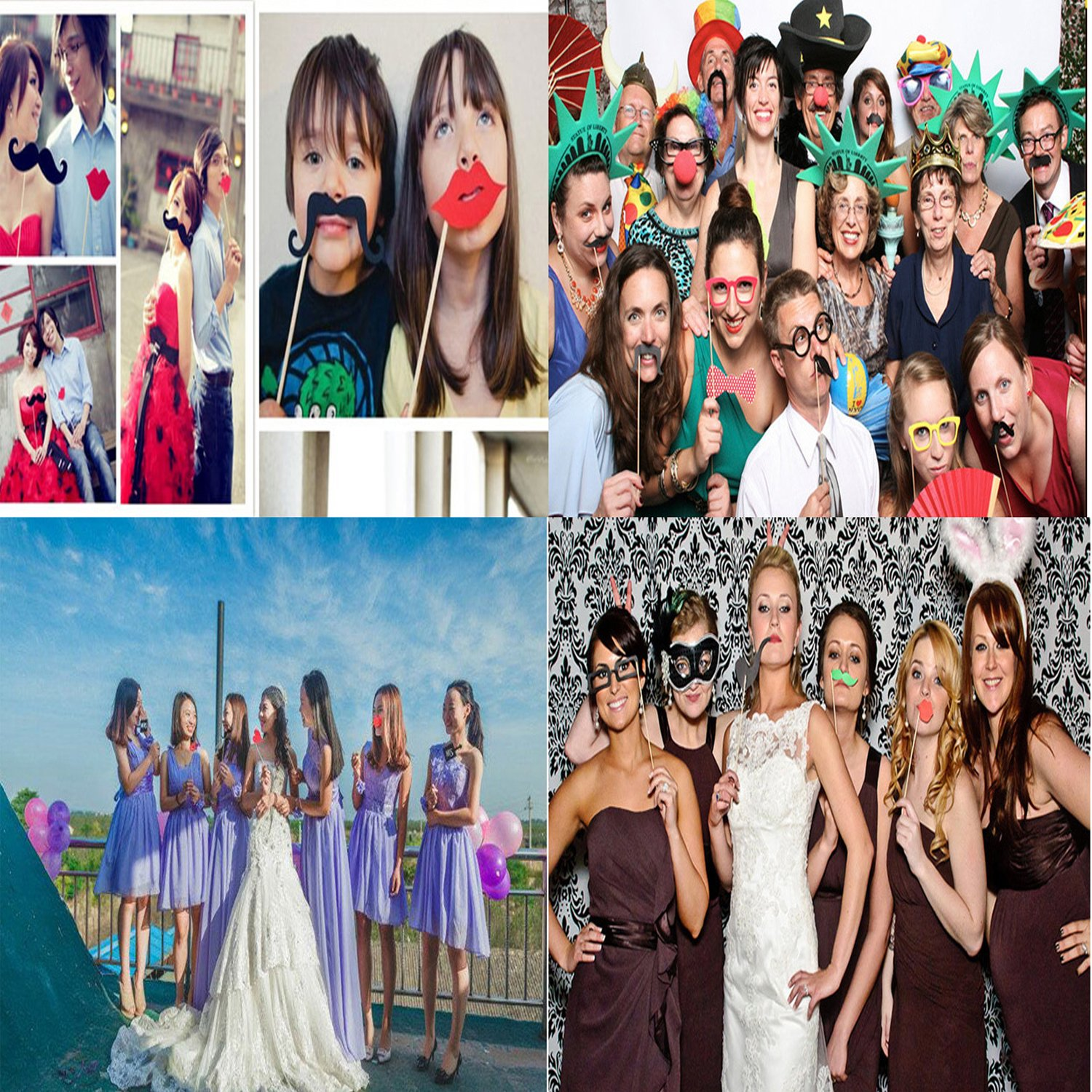 Photo Booth Props Funny DIY Kit for Wedding Party Decorations ...