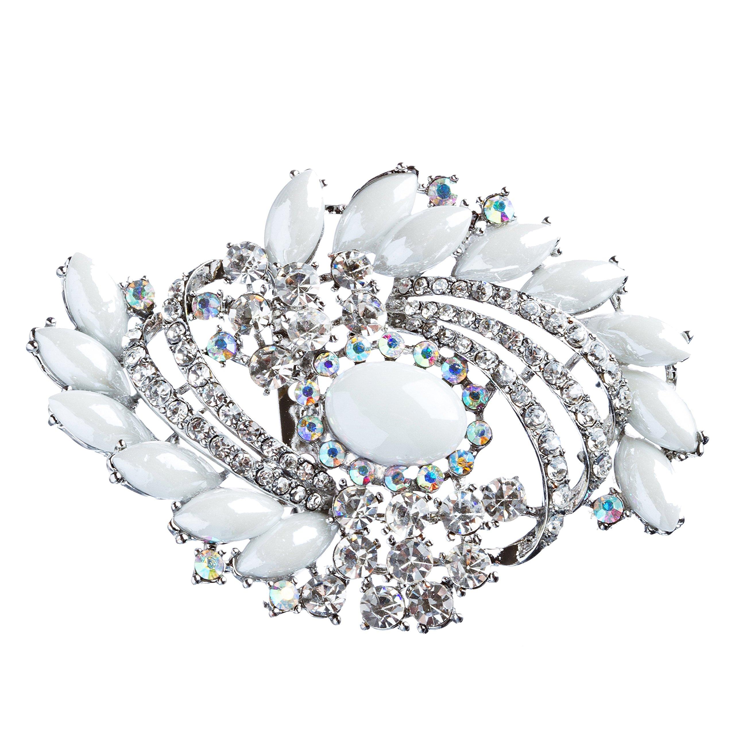 ACCESSORIESFOREVER Women Bridal Wedding Jewelry Crystal Rhinestone Classy Brooch Pin BH176 Silver
