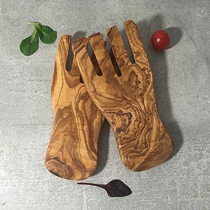 Ensalada manos para ensalada (madera de olivo//cubertería de madera, Natural hecho