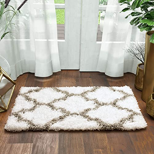 Super Area Rugs Moroccan Trellis Cozy Shag Rug for Home Decor 2 x 3 , White Gray