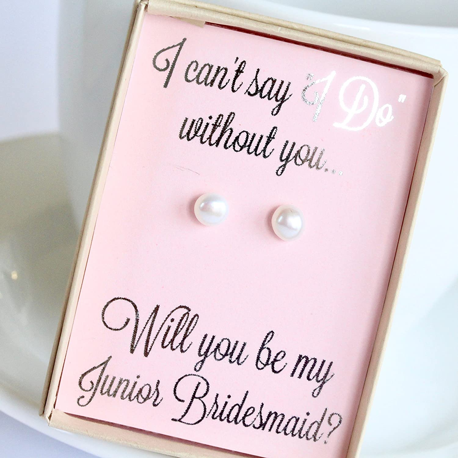 Amazon.com: Pink Junior Bridesmaid in Wedding Pearl Earring Set with ...