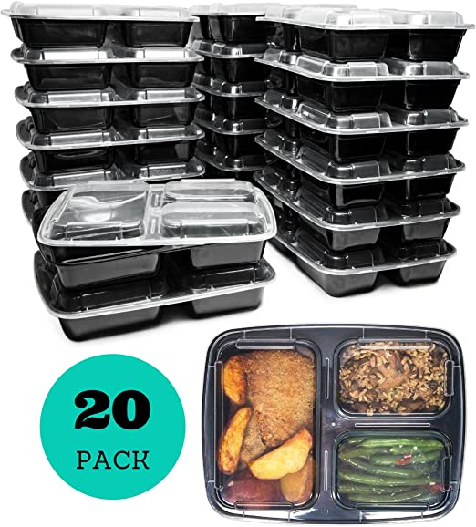 3 Compartment Meal Prep Containers with Lids (20 Pack), 32 oz, Food Storage Bento Box | BPA Free | Stackable | Reusable Lunch Boxes, ...