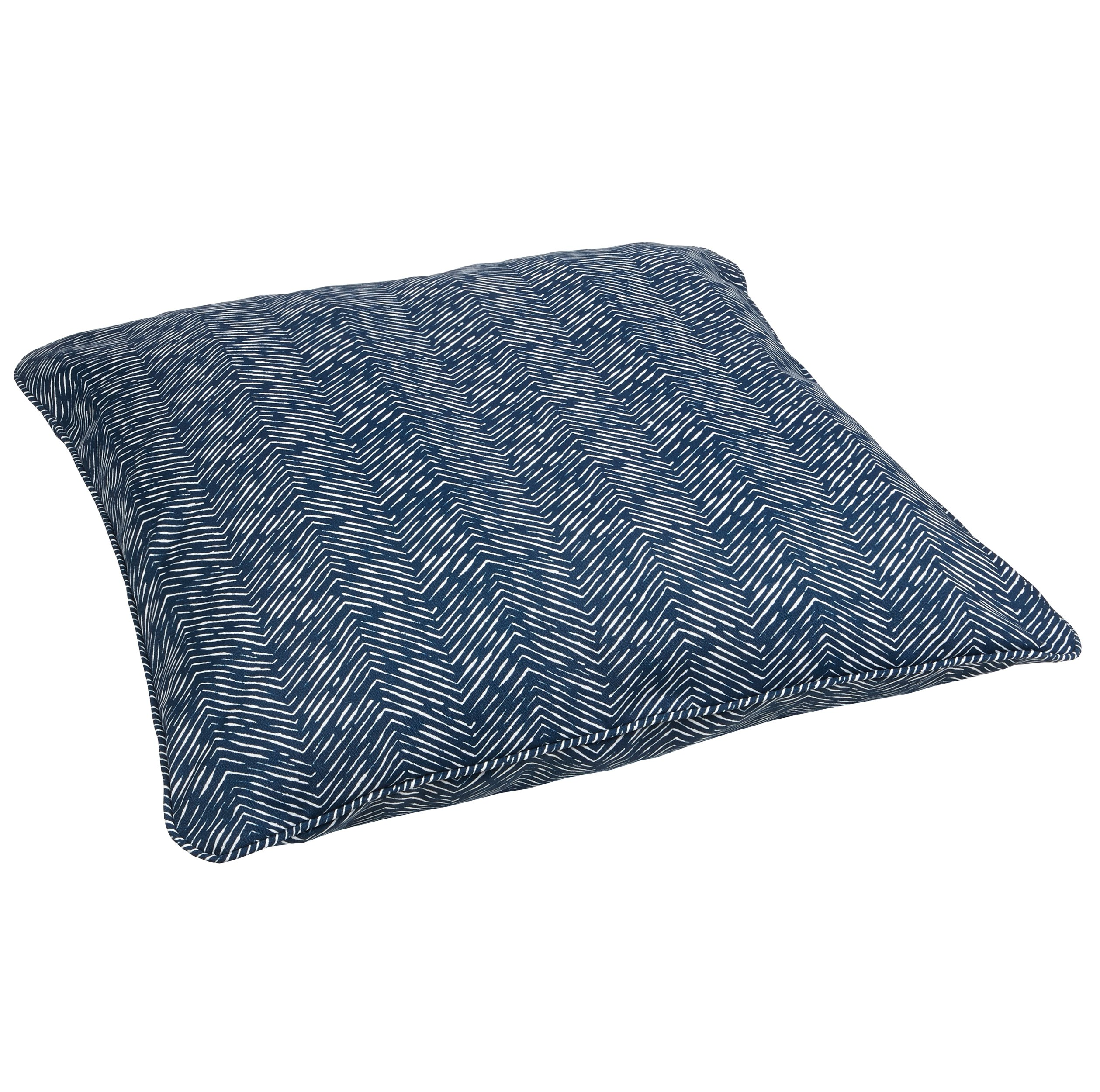 Mozaic AZPS2391 Indoor Outdoor Square Floor Pillow with Corded Edges, 26 x 26, navy - Color: Navy Herringbone Materials: Polyester fabric, filled with 100% recycled polyester fiber Weather, mildew, fade and stain resistant with UV protection - patio, outdoor-throw-pillows, outdoor-decor - 91sAprWzptL -
