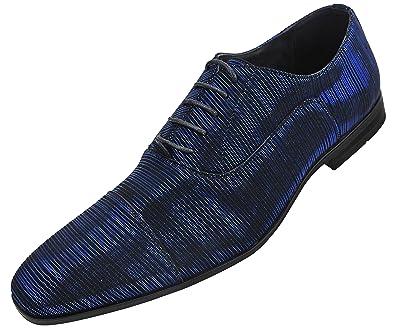 889eec48ef91 Amali Men's Brilliant Striped Tuxedo Cap Toe Oxford Dress Shoe, Style Modie  Blue