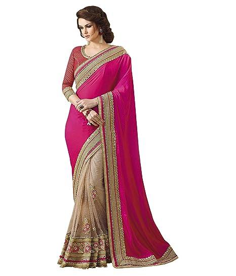 f6e79206fd manjula feb pink & cream designer saree[PS1552]: Amazon.in: Clothing &  Accessories