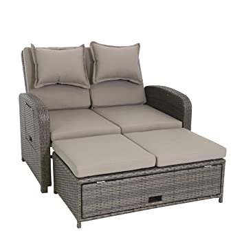 Extrem Amazon.de: greemotion Rattan-Lounge Bahia Rondo, Sofa & Bett aus LL16