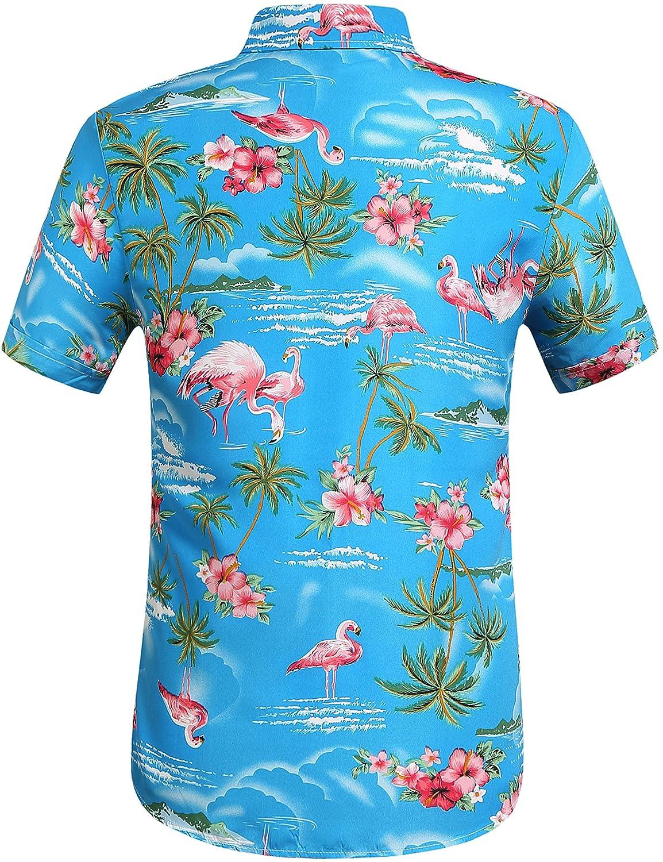 a6b4f9bf748 SSLR Men s Flamingos Casual Short Sleeve Aloha Hawaiian Shirt at Amazon Men s  Clothing store