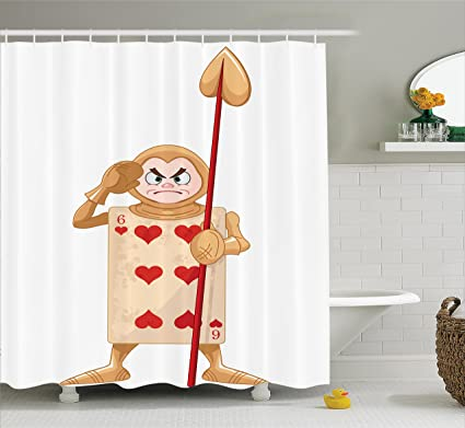 Ambesonne Alice In Wonderland Shower Curtain Playing Card Illustration With Six Of Hearts Fiction