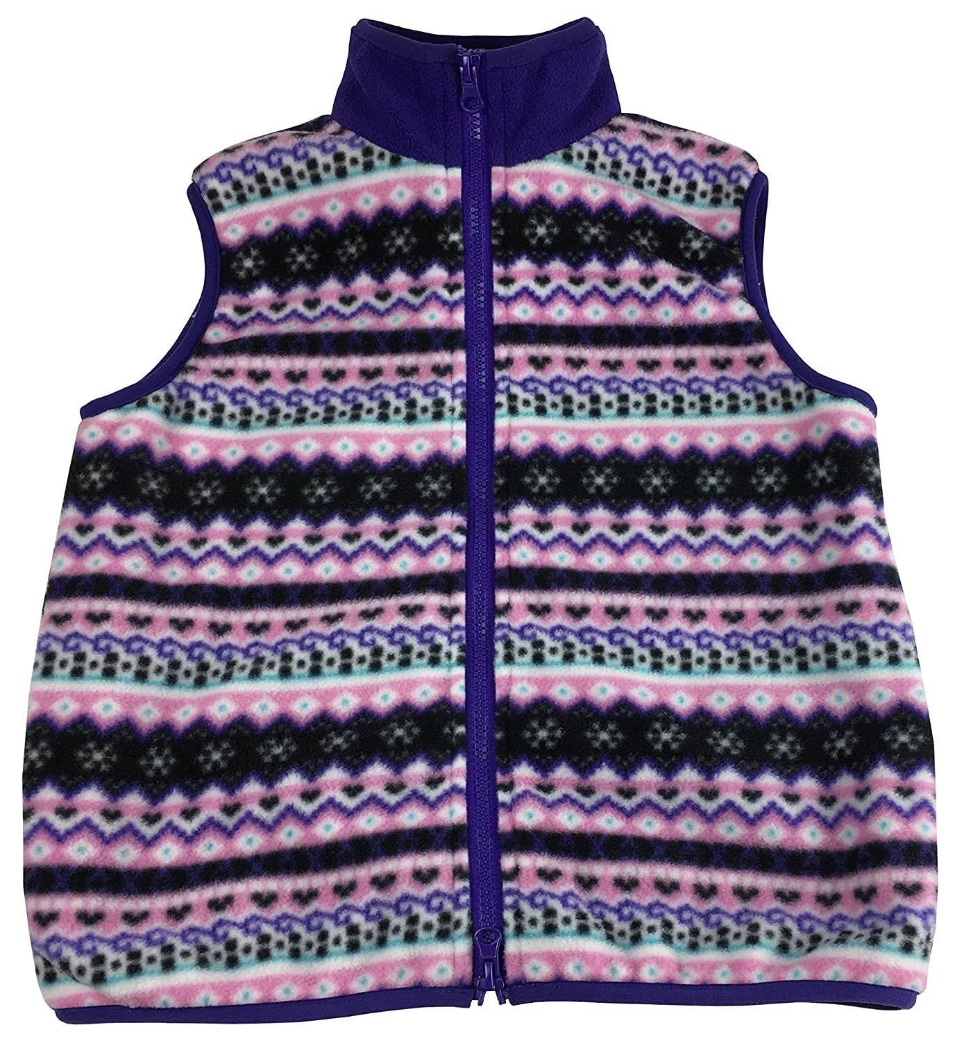 N'Ice Little Girls and Baby Sherpa Lined Fairisle Fleece Outerwear Winter Vest 6000-G
