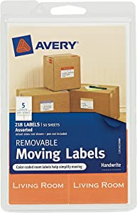 Avery Removable Moving Labels, Assorted Sizes and Colors, Pack of 218 (40219),White