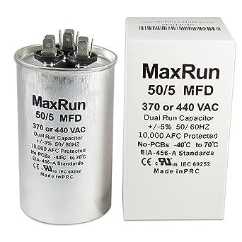 MAXRUN 50+5 MFD uf 370 or 440 Volt VAC Round Motor Dual Run Capacitor ac motor wiring diagram capacitor Amazon.com