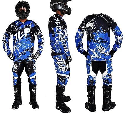 Traje Niños 5/6 Años Moto Cross Quad Montaña BMX MTB Pantalón Guantes Maillot Azul JLP Racing Talla 22us/M
