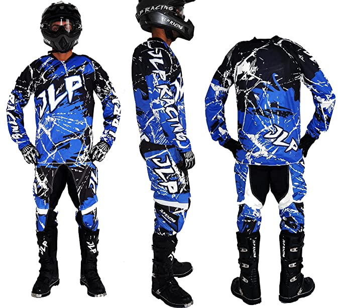 Traje Niño 10 - 12 Años Moto Cross Quad Montaña BMX MTB Pantalón Guantes Maillot Azul JLP Racing Talla 26us/XL: Amazon.es: Coche y moto