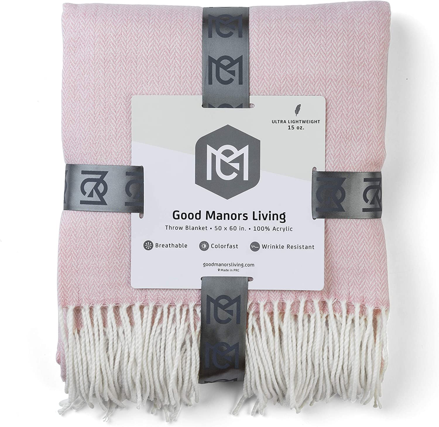 """GOOD MANORS Herringbone Throw Blanket, Modern Farmhouse Decor for Couch, Chair, Ladder, Indoor-Outdoor Everyday Use, Soft Faux Cashmere, Ultra Lightweight, 50"""" x 60"""", Light Pink and White"""