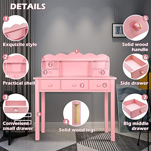 Home Office Furniture Writing Desk,Computer Work Station with Detachable Hutch,5 Drawers Pink