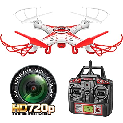 World Tech Toys Striker-X HD Camera Drone 2.4Ghz 4.5Ch HD Picture/Video Camera RC Quadcopter Vehicle, Red/White, 12 x 12 x 2.75: Toys & Games