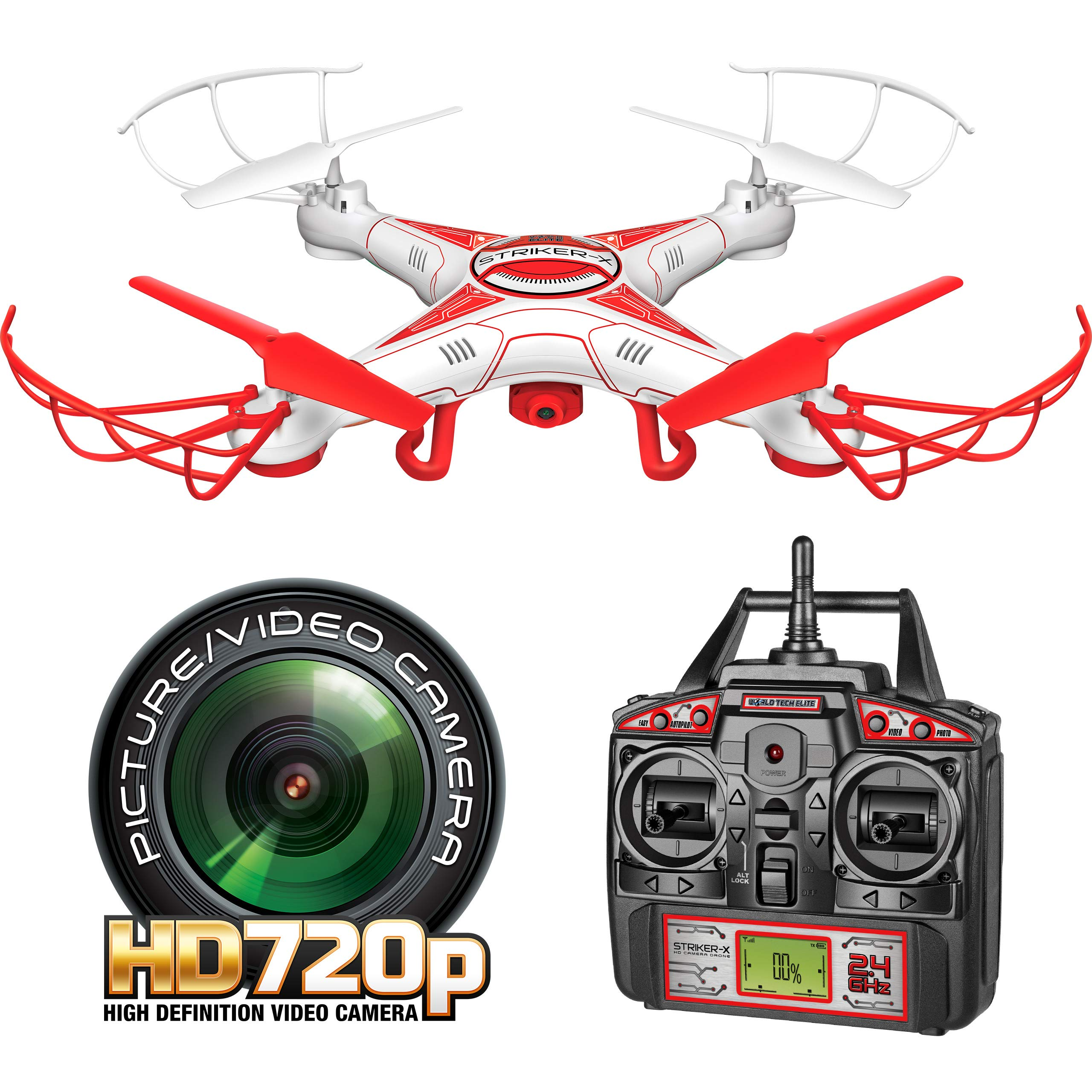 World Tech Toys Striker-X HD Camera Drone 2.4Ghz 4.5Ch HD Picture/Video Camera RC Quadcopter Vehicle, Red/White, 12 x 12 x 2.75 by World Tech Toys