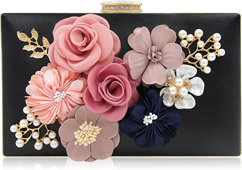 Milisente Evening Bag for Women, Flower Wedding Evening Clutch Purse Bride Floral Clutch Bag (Black)