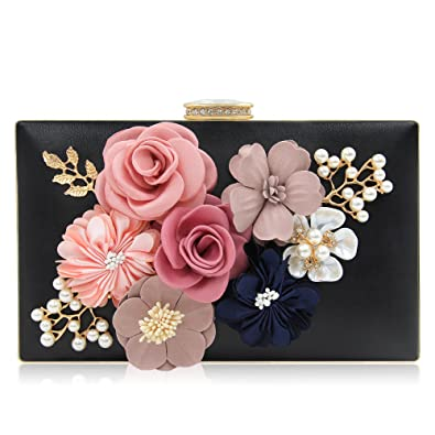 Milisente Women Clutches Bag Flower Satin Evening Bags Wedding Handbag  (Black) 48fcf04f71c2a