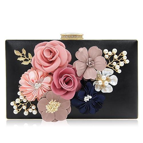 fef77b3ac0 Milisente Evening Bag for Women, Flower Wedding Evening Clutch Purse Bride  Floral Clutch Bag
