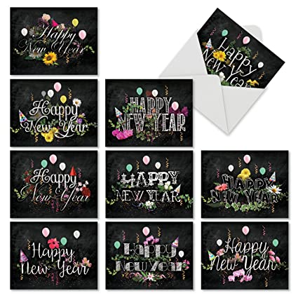 new year chalk and roses 10 assorted new year note cards featuring beautiful new year