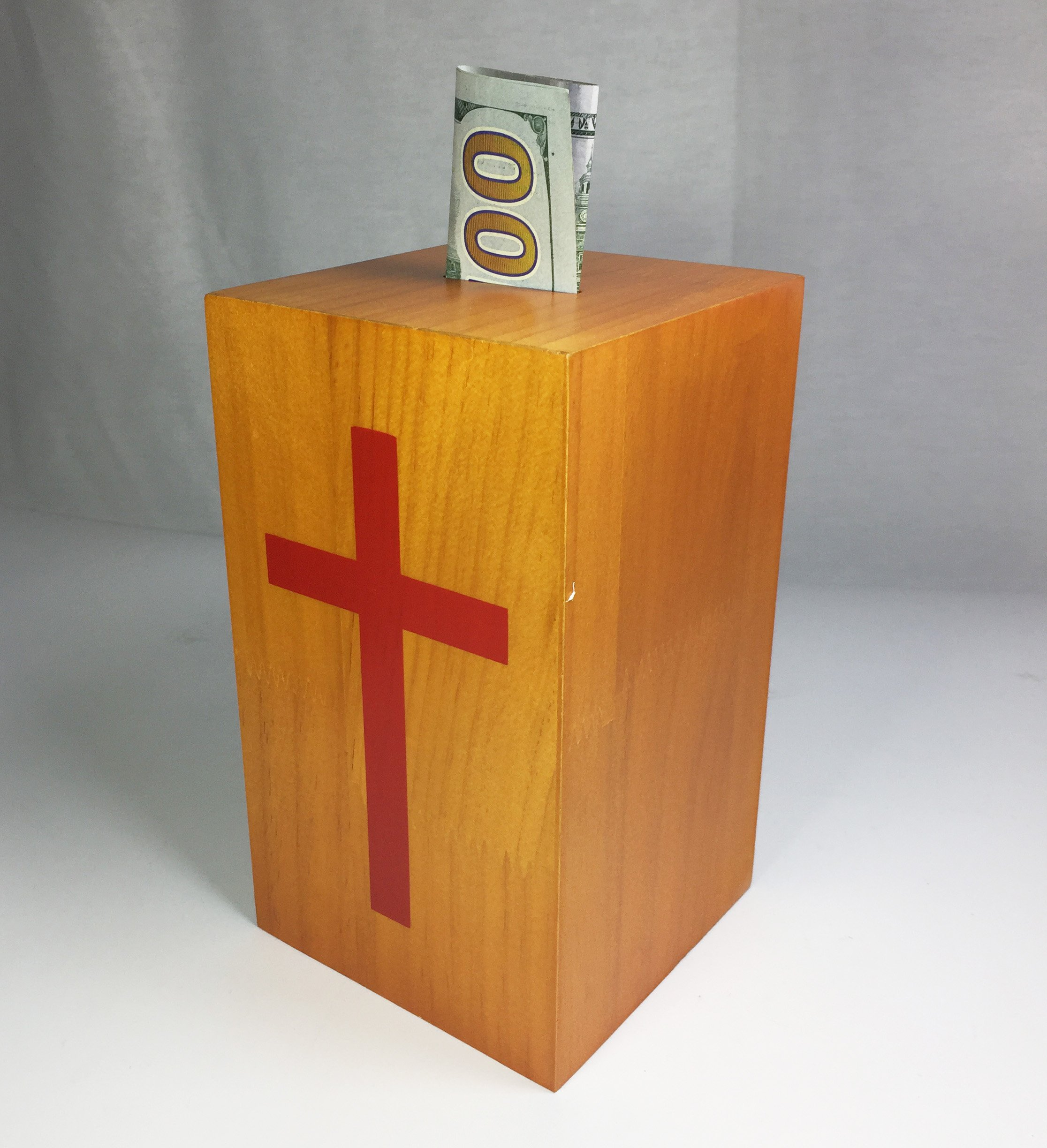 FixtureDisplays Wood Collection Donation Box Church Offering Coin Collection Fundraising Box 10886