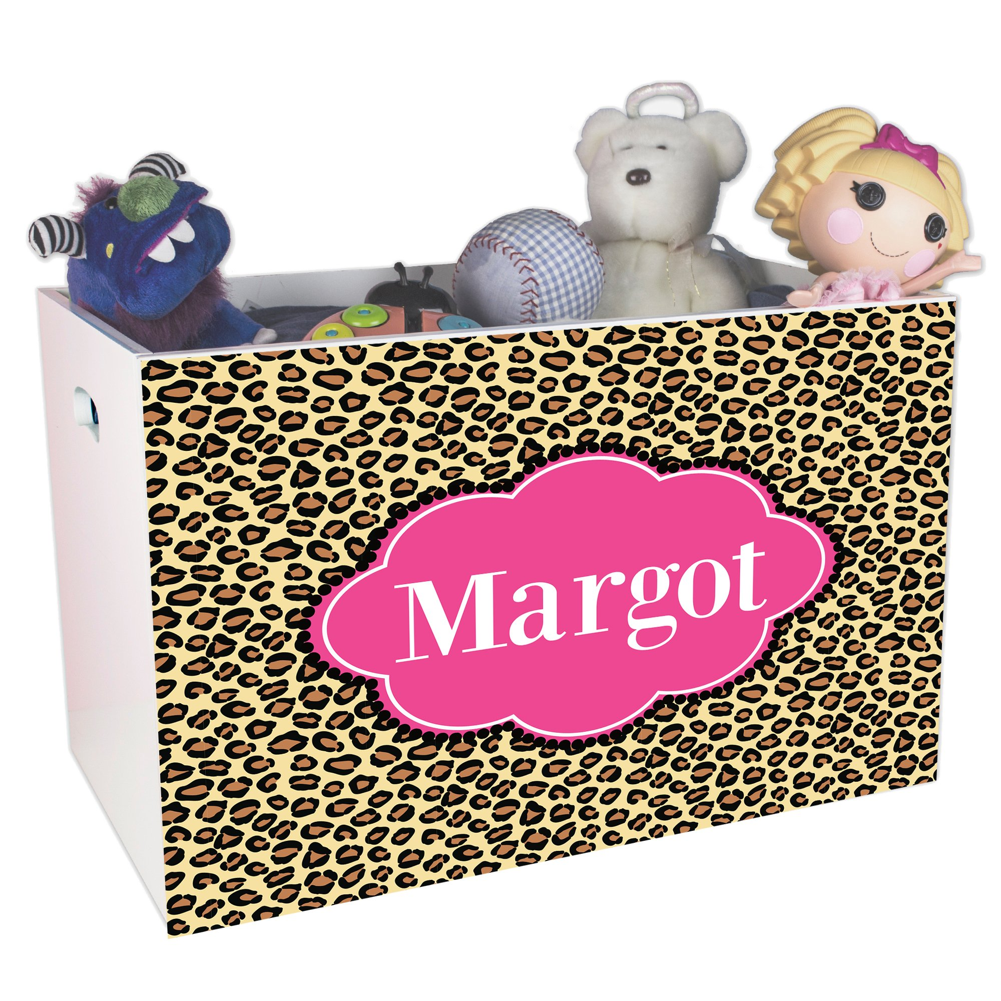 Personalized Cheetahlicious w hot Pink Childrens Nursery White Open Toy Box