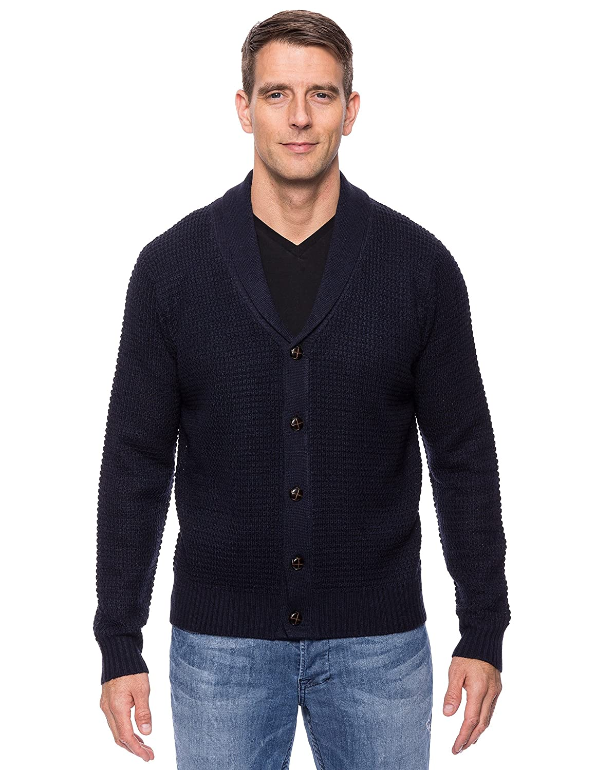 Tocco Reale Men's Wool Blend Shawl Collar Cardigan in Waffle Stitch tcr_mn_sw_wlpynl5_crdshnk