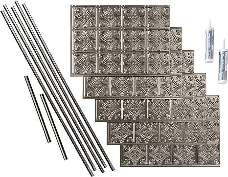 FAS/ÄDE Traditional Style//Pattern 1 Decorative Vinyl Backsplash 15 sq ft Kit in Argent Bronze