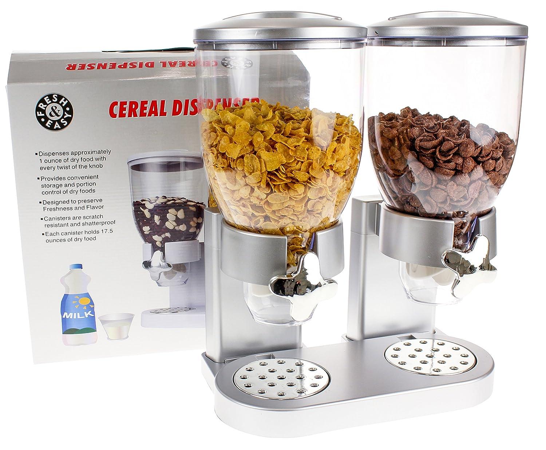 Cornflakes und Cerealien United Entertainment M/üslispender // Cerealienspender // Cornflakesspender // Doppel-Spender f/ür M/üsli Silber