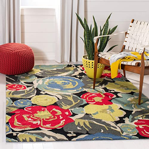 Safavieh Four Seasons Collection FRS437A Hand-Hooked Black and Multi Indoor Outdoor Area Rug 5 x 8