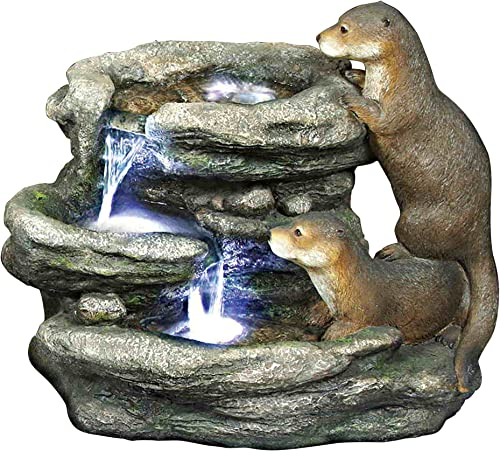Design Toscano DW97060 Water Fountain with LED Light – Bright Waters Otters Garden Decor Fountain – Outdoor Water Feature,antique stone