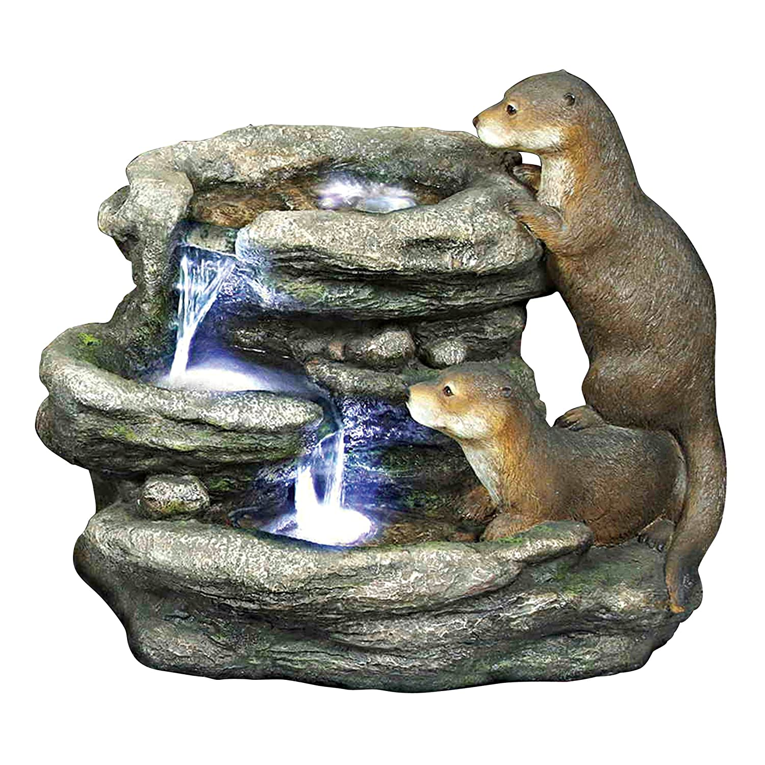 Bright Waters  Otters Water Fountain with LED Light - Bright Waters Otters Garden Decor Fountain - Outdoor Water Feature