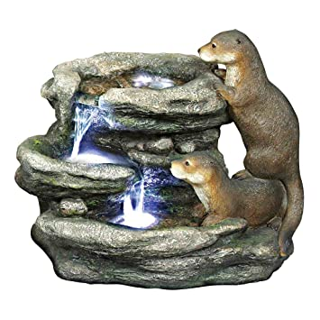 Water Fountain With LED Light   Bright Waters Otters Garden Decor Fountain    Outdoor Water Feature