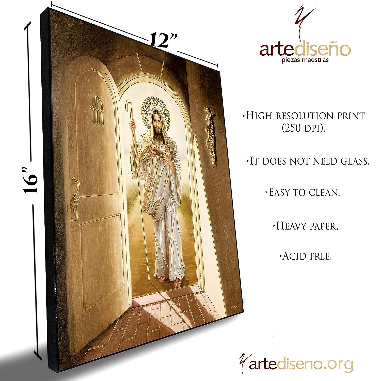 Artedise/ño piezas maestras Jesus Christ Knocking at The Door Decorating Home 27x40 - Framed Religious Wall Art Print