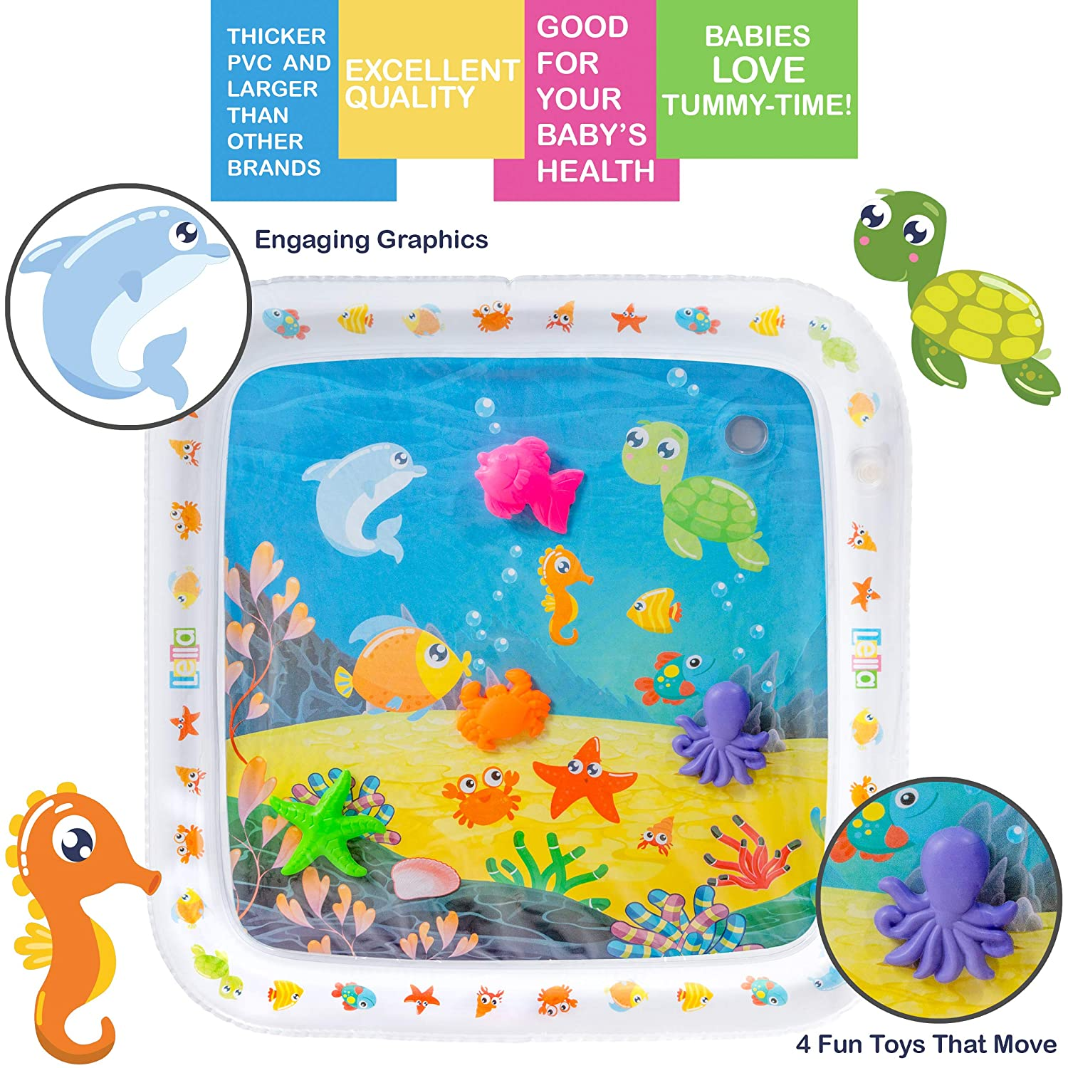 BPA Free Great Play Activity Center for Baby Stimulation and Growth Indoor /& Outdoor Play Mat Developmental Lella Premium Inflatable Tummy Time Water Mat for Babies Infants /& Toddlers