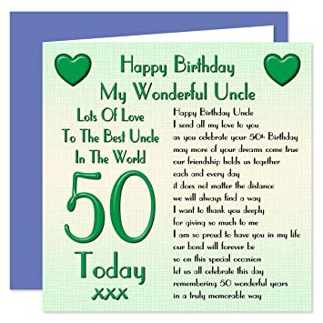 Uncle 50th Happy Birthday Card Lots Of Love To The Best Uncle In