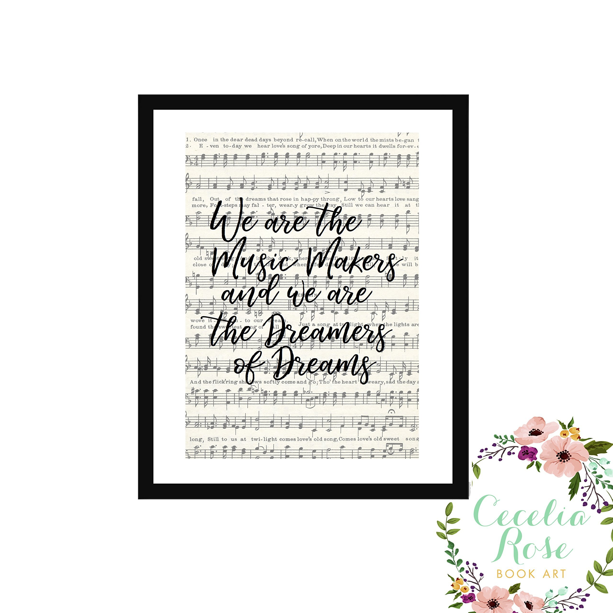 We are the music makers and we are the dreamers of dreams Willy Wonka Charlie and the Chocolate Factory Farmhouse Inspirational Quote Upcycled Vintage Book Page Unframed