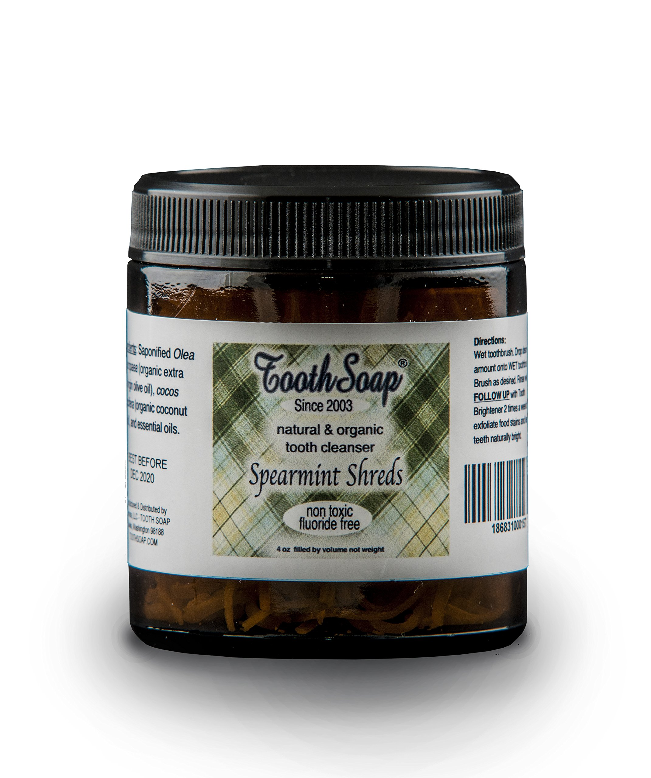 Tooth Soap – Spearmint Shreds – 4 oz | All Natural, Fluoride-Free Tooth & Gum Cleaner | Enhanced with Organic Coconut & Extra Virgin Olive Oil with Essential Oils (Spearmint Shreds)